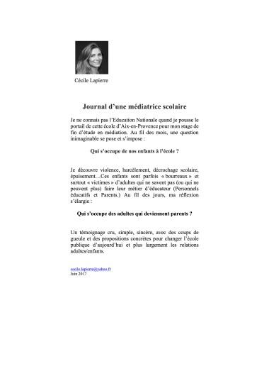 Cécile Lapierre - Journal d'une médiatrice. 4 couv